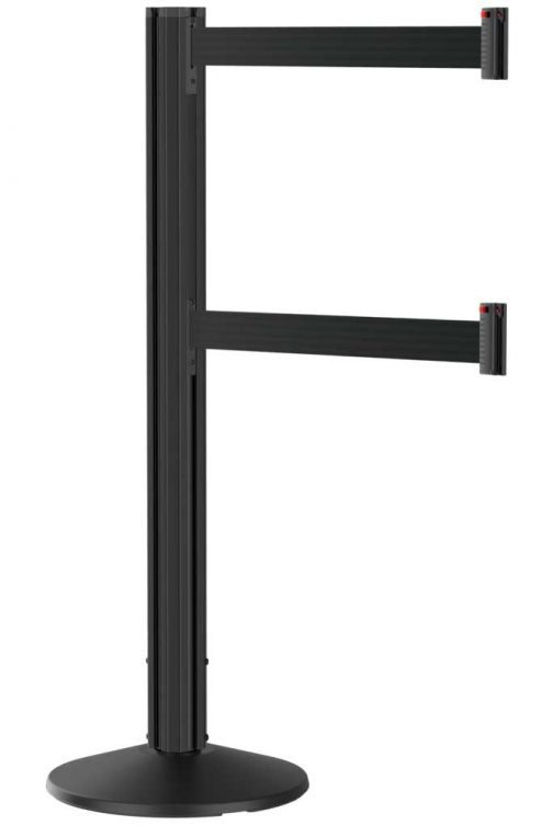 Grooved Black Stanchion Post with Black Dual Line Retractable Belt