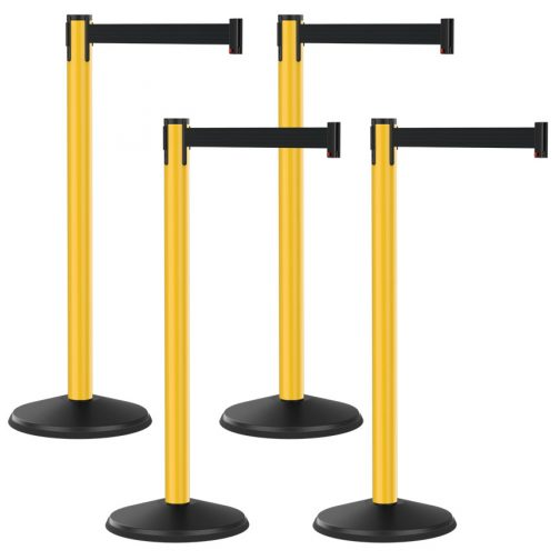 Economy Outdoor Yellow Post with Black Retractable Belt Bundle 4