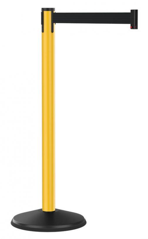 Economy Yellow Post with Retractable Black Belt