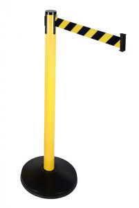 Economy Outdoor Yellow Post with Black/Yellow Diagonal Retractable Belt
