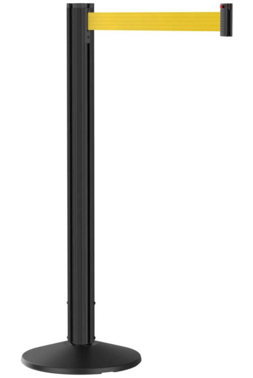 Grooved Black Stanchion Post with Yellow Retractable Belt