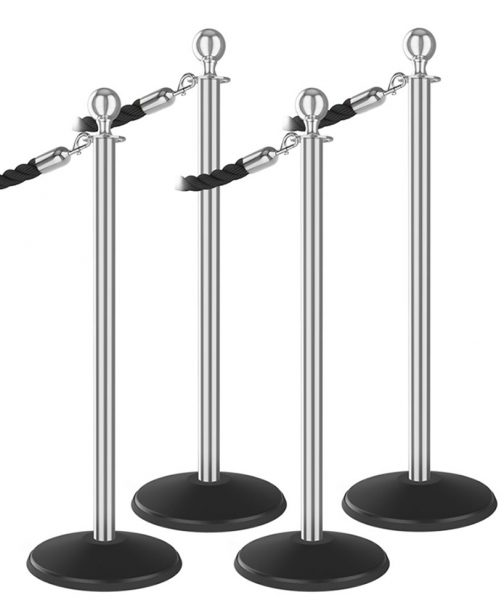 Outdoor 4 Ball Top Bundle Polished Aluminum Post Black Braided Rope Polished Brass Snap End Stanchion