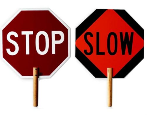Stop Slow Traffic Safety 18in Paddles Wood Handle