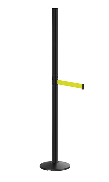 Outdoor Six Foot Black Sign Post with Retractable Fluorescent Yellow Belt
