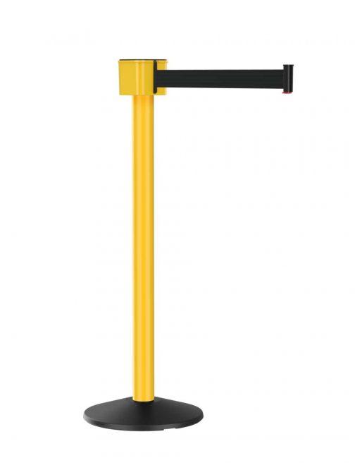 Value Yellow Barrier Post Mount 30 Foot Black Retractable Belt