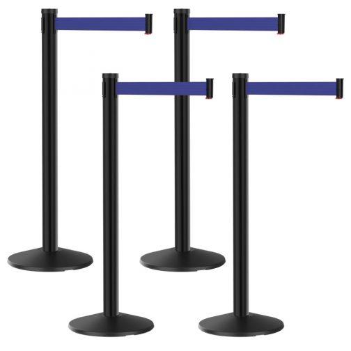 Premium Black Post with Blue Retractable Belt Bundle 6